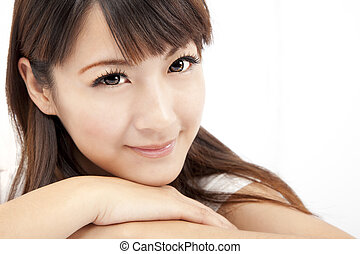 beautiful woman face isolated