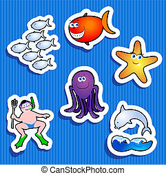 maritime stickers - Set of stickers with maritime subjects,...