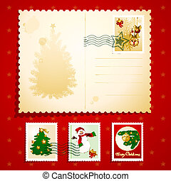 Christmas postcard, vector background