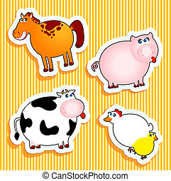 animal farm - Set of vector icons, animal farm stickers.