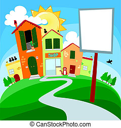 Country road on the hill with sign, vector