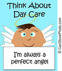 daycare for angels - child with halo and innocent expression...