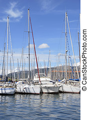 Recreative vessels moored in the harbor of Toulón, France....