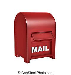 赤, メール, 箱