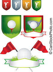 Set of golf shields and designs