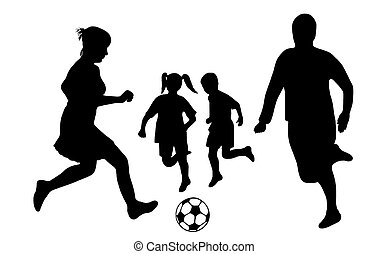 Family Soccer  - family soccer silhouette isolated on white