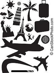 Travel set - Stock Vector Illustration: black and white set...