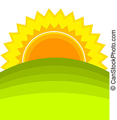 Sunrise over green hill. Vector illustration