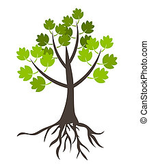 Tree with roots - vector illustration