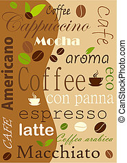 Coffee background, various kinds - vector illustration