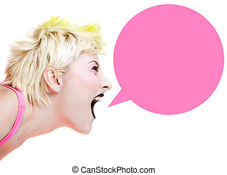 Punk Girl Shouting - Isolated image of a blonde punk girl...