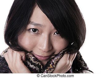 Woman in shawl - Young asian woman wearing a shawl on white