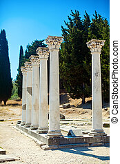 Columns In Asklepion - seven columns in Asklepion - place on...