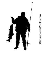 a, pescador, peixe