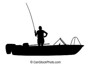 The fisherman fishes in a boat