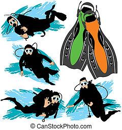scaphandre, plongée, silhouettes, ensemble