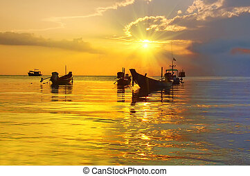 Golden Sunset and longtail boats on tropical beach. Tao island, Thailand.