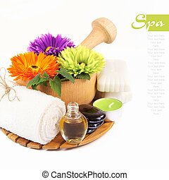 Spa concept on a white background Isolated Place for text...