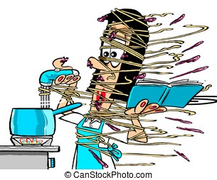 Pasta disaster.WBG. - Cook covers herself in pasta; on white...