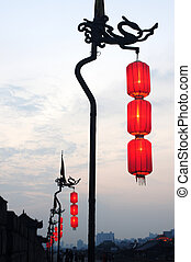 Red lanterns - Chinese traditional red lanterns on the city...