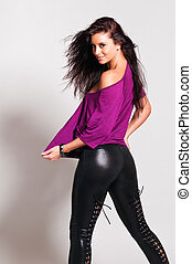 Purple and black - Beautiful tall brunette in a purple tee...