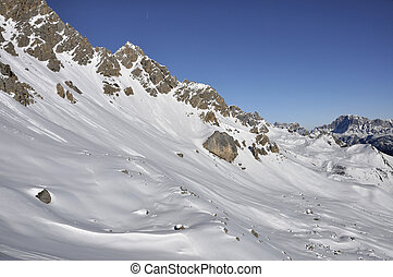 costabella slope at san pellegrino - snowy slopes and peaks...