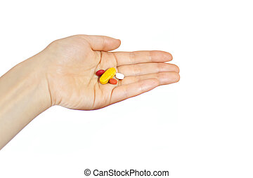 hand holding supplements