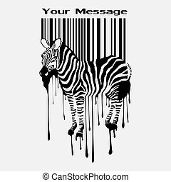 abstract vector zebra silhouette with barcode eps8