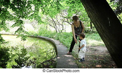 Mother and Baby Boy at Lake
