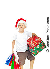 Ho-ho-ho!Boy with X-mas presents