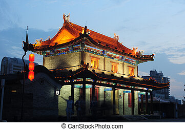 Xian, China - The famous ancient city wall of Xian, China