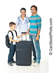 Family going to travel - Happy family with child going to...
