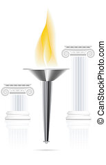 Olympic torch with flame on ionic column background Vector...