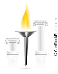 Olympic torch with flame on ionic column background. Vector...