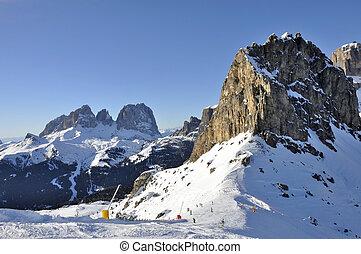 sas pordoi and sasslungo, dolomites - view of famous...