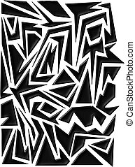 Graffiti 2 - dark bold graffiti style vector art background