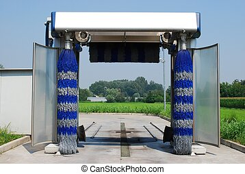 Car wash - View of an empty car wash in a sunny day