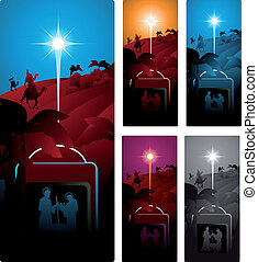 three wise men - Different versions of a vertical banner...