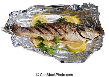 sea fish cocked in a wrapper with lemon slices and parsley isolated  on white background