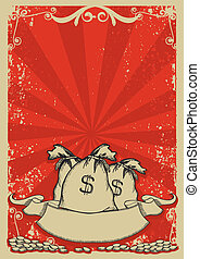 Money bags background with gold coins .Vintage graphic image...