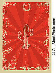 Cowboy old paper background for text with cactus - Cowboy...