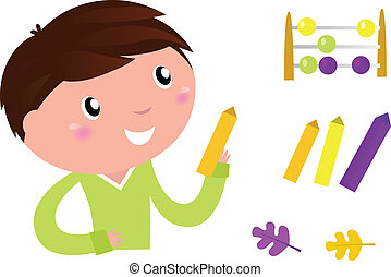 Cute Little Boy with School accessories. Vector cartoon Illustration.