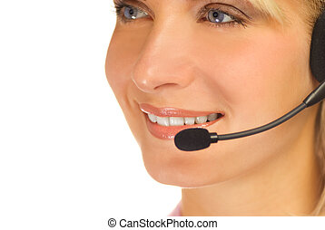 Beautiful hotline operator with headset isolated on white...