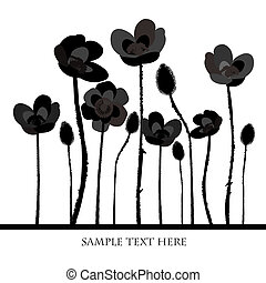 Background with black poppies