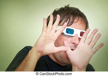 Man with 3D glasses