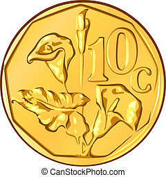 vector money South African gold coin, ten cents a flower...