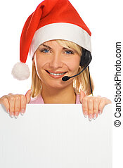 Mrs. Santa with a headset and white noticeboard isolated on white background