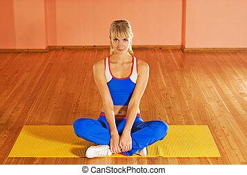 Tränare, efter, avkopplande, Övning,  fitness