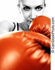 sepia, retrato, niña, rojo, boxeo, guantes