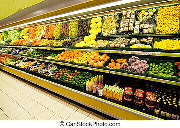 Fruit and vegetable section in a shop